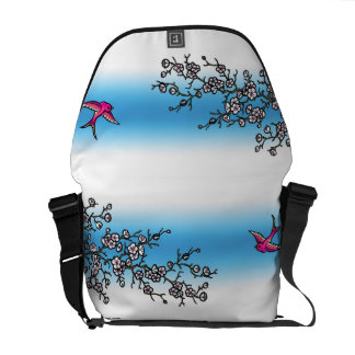 Pink Swallow and Cherry Blossom Bag Courier Bag