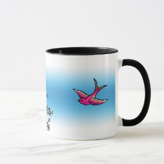 Pink Swallow and Cherry Blossom Mug