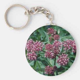 Pink Swamp Milkweed (Asclepias Incarnata) flowers Basic Round Button Key Ring