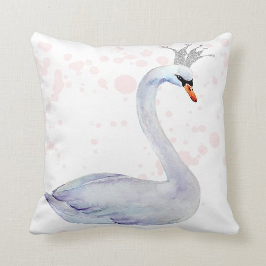 Pink Swan Crown Watercolor Nursery Boho Pillow