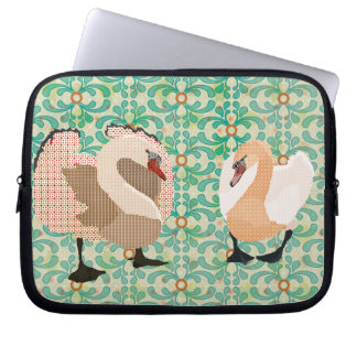 Pink Swanky Swans Green Computer Sleeve