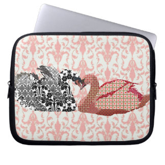 Pink Swanky Swans Love Computer Sleeve