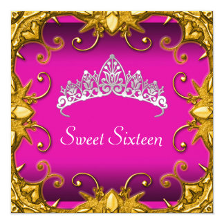 Pink Sweet 16 Birthday Party Gold White Tiara Card