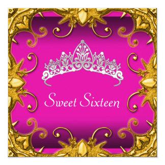Pink Sweet 16 Birthday Party Gold White Tiara 13 Cm X 13 Cm Square Invitation Card