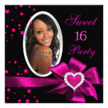 Pink Sweet 16 Birthday Party Heart Photo Silver