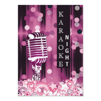 Pink Sweet 16 karaoke night party Invitation
