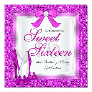 Pink Sweet 16 Party Sweet Sixteen Silver Glitter 13 Cm X 13 Cm Square Invitation Card