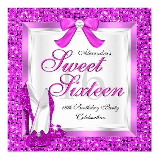 Pink Sweet 16 Party Sweet Sixteen Silver Glitter Personalized Invites