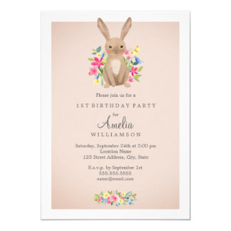 Pink Sweet Floral Bunny First Birthday Invitation