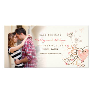 Pink Sweet Heart Butterfly Swirls Save The Date Custom Photo Card