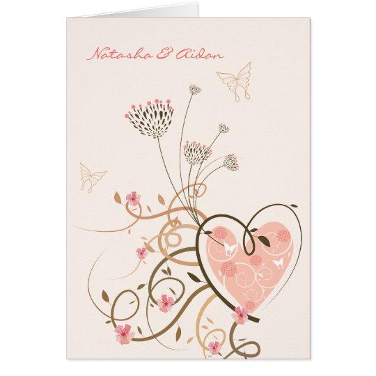 Pink Sweet Heart & Butterfly Swirls Wedding Card