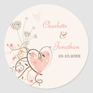 Pink Sweet Heart Butterfly Swirls Wedding Sticker