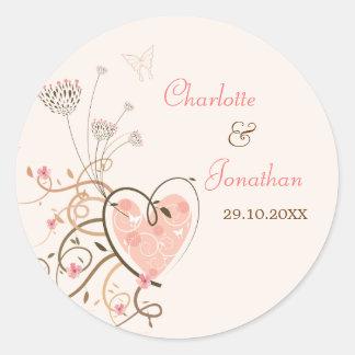 Pink Sweet Heart Butterfly Swirls Wedding Sticker