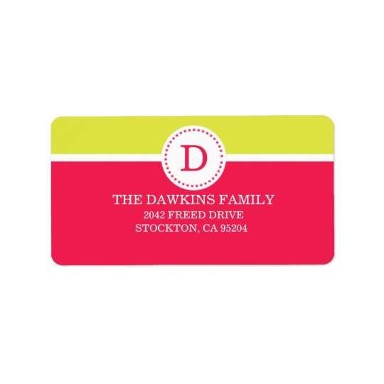 Pink Sweet Monogram Custom Monogrammed Family Address Label