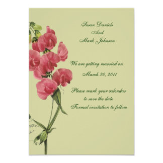 Pink Sweet Pea Flower Wedding Save The Date 13 Cm X 18 Cm Invitation Card