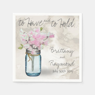PINK SWEET PEAS VINTAGE MASON JAR WATERCOLOR DISPOSABLE SERVIETTE