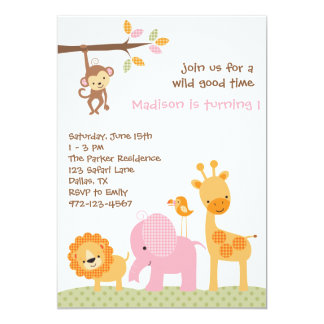 Pink Sweet Safari Invitations