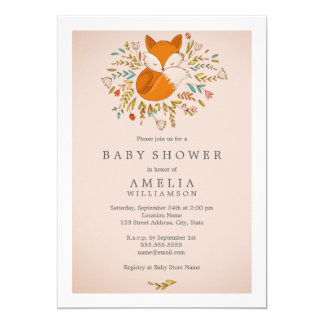 Pink Sweet Woodland Fox Baby Shower Invitation