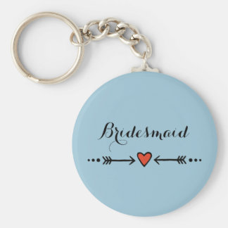 Pink Sweethearts & Arrows Blue Bridesmaid's Gift Key Ring