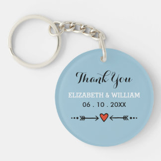Pink Sweethearts & Arrows Blue Thank You Double-Sided Round Acrylic Key Ring