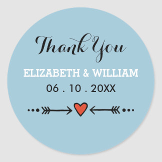 Pink Sweethearts & Arrows Blue Wedding Thank You Round Sticker