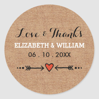 Pink Sweethearts & Arrows Burlap Love and Thanks Classic Round Sticker
