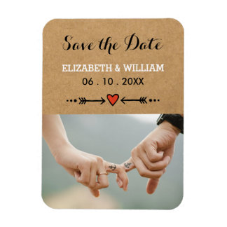 Pink Sweethearts & Arrows Rustic Save the Date Vinyl Magnets