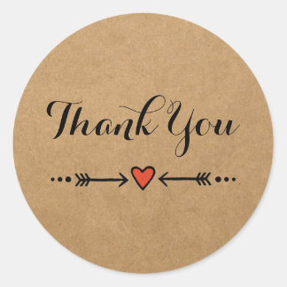 Pink Sweethearts & Arrows Rustic Thank You Round Sticker