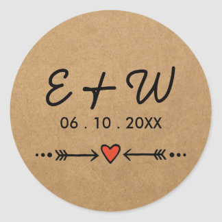 Pink Sweethearts & Arrows Rustic Wedding Initials Round Sticker