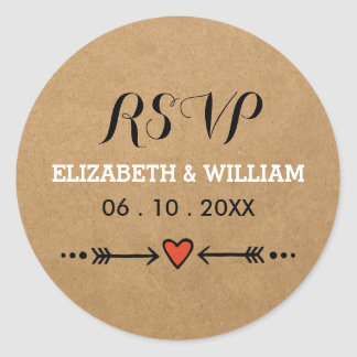 Pink Sweethearts & Arrows Rustic Wedding RSVP Round Sticker