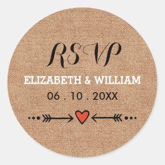 Pink Sweethearts & Arrows Rustic Wedding RSVP Round Sticker