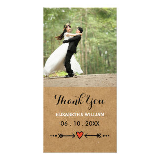 Pink Sweethearts & Arrows Rustic Wedding Thank You Card