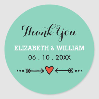 Pink Sweethearts & Arrows Teal Wedding Thank You Round Sticker
