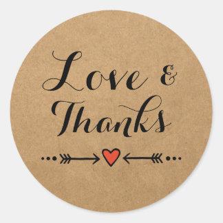 Pink Sweethearts & Arrows Wedding Love & Thanks Round Sticker
