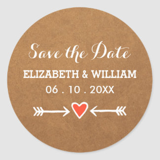 Pink Sweethearts & Arrows White Save the Date Round Sticker