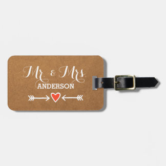 Pink Sweethearts & Arrows White Surname Mr & Mrs Luggage Tag