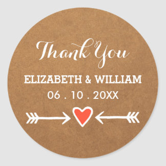 Pink Sweethearts & Arrows White Wedding Thank You Round Sticker