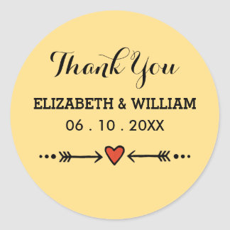 Pink Sweethearts Arrows Yellow Wedding Thank You Round Sticker