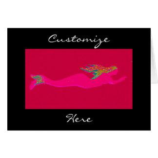 pink swimming mermaid black card
