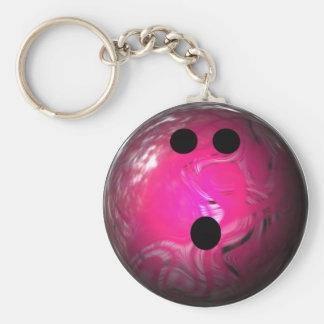Pink Swirl Bowling Ball Key Ring