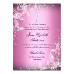 Pink Swirl Butterfly & Cross Baptism Invite