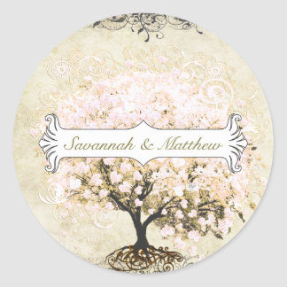 Pink Swirl Heart Leaf Tree Wedding Seal Round Sticker