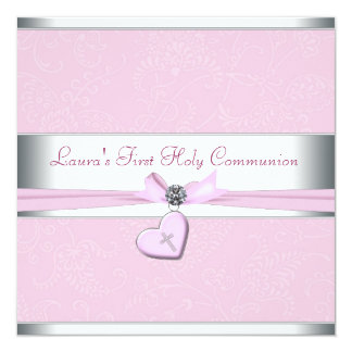 Pink Swirl Heart Pink Cross First Communion Card