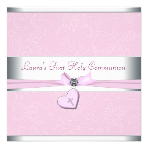 Pink Swirl Heart Pink Cross First Communion Invitation