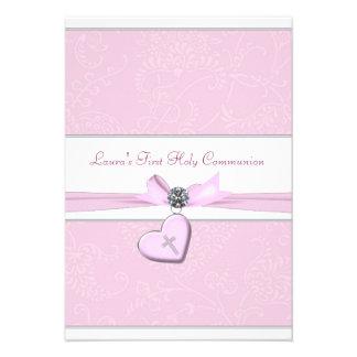 Pink Swirl Heart Pink Cross First Communion Invitations