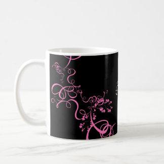 Pink swirl save the date products basic white mug