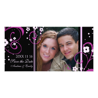 Pink Swirl Save the Date Wedding Photo Cards