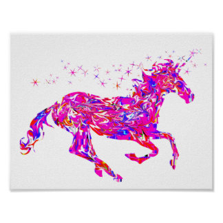 Pink Swirl Unicorn Poster for Kids