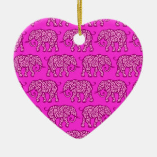 Pink Swirling Elephant Pattern Christmas Ornament