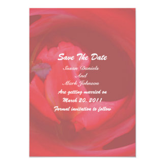 Pink Swirling Rose Flower Wedding Save The Date Custom Invitations
